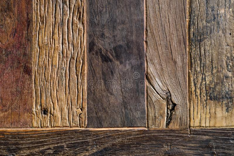 Aged wooden crannied planks background from above royalty free stock photography