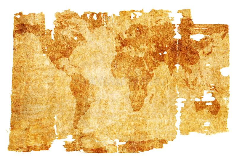 Aged world map stock photo