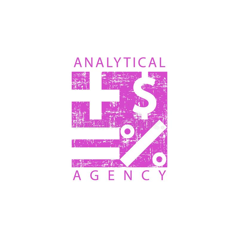 Agence analytique de logo, signes mathématiques, économie ou emblème financier d'école illustration libre de droits