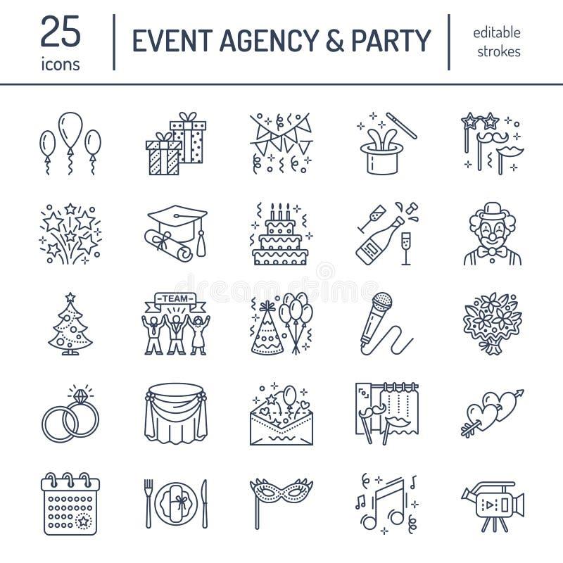 Agence d'événement, épousant la ligne icône de vecteur d'organisation Faites la fête la restauration de service, gâteau d'anniver illustration stock