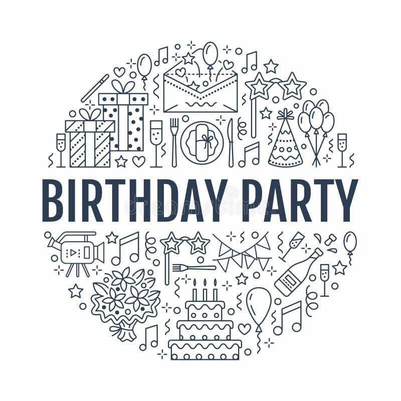 Agence d'événement, bannière de fête d'anniversaire avec la ligne icône de la restauration, gâteau d'anniversaire, décoration de  illustration de vecteur