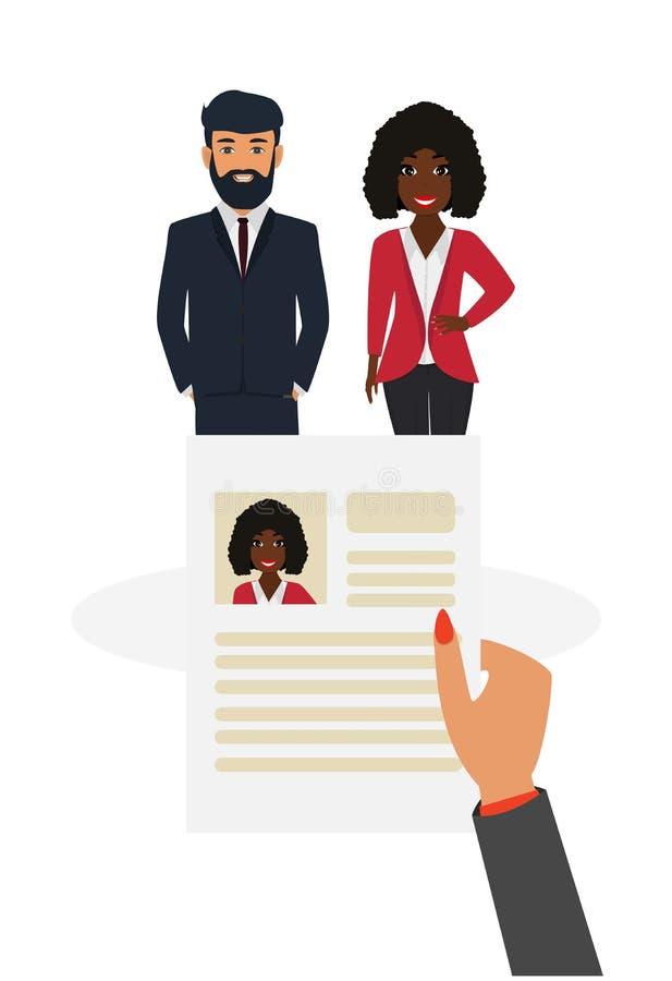 Agence du travail Concept de recruteur Choisissant un candidat pour louer et lecture de cv illustration de vecteur