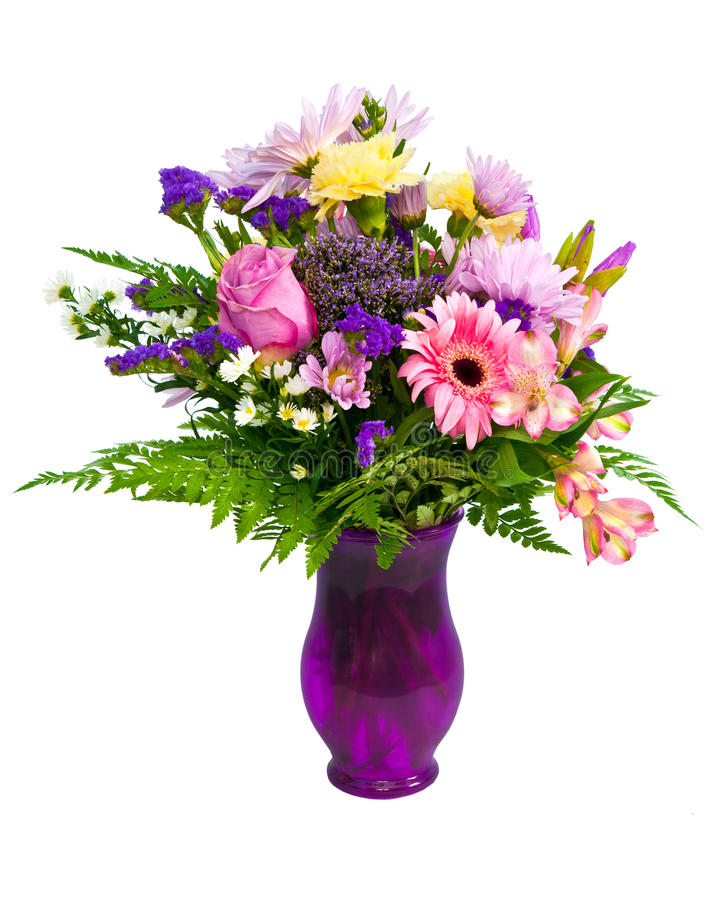Agencement coloré de bouquet de fleur dans le vase image libre de droits
