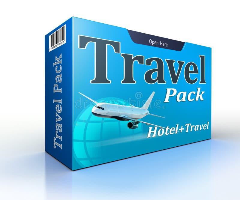 Agenci podróży pojęcia paczka z lotem i hotelem ilustracji