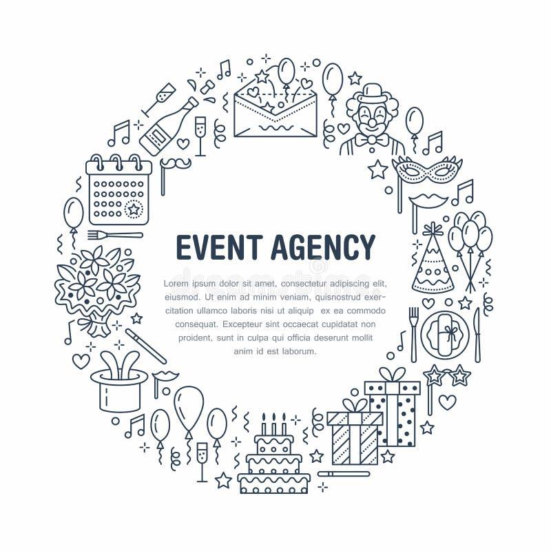 Agencia del evento, bandera de la fiesta de cumpleaños con la línea icono de abastecimiento, torta de cumpleaños, decoración del  libre illustration
