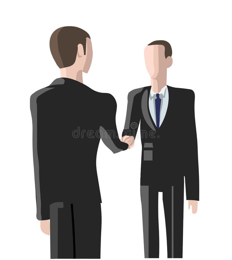 Agencia del reclutamiento, dos hombres que sacuden las manos libre illustration
