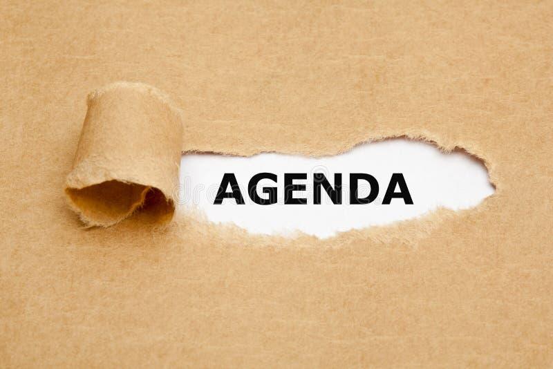 Agenda Bruin Gescheurd Document Concept royalty-vrije stock afbeeldingen