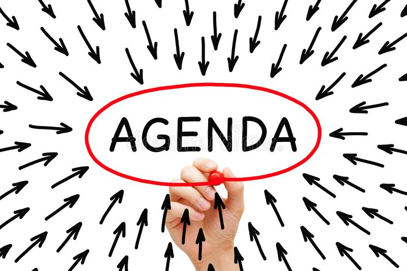 Agenda Concept With Many Arrows royalty free stock image