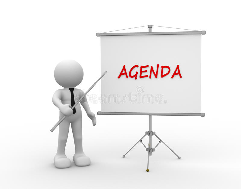 Agenda. 3d people - man, person and flipchart. Agenda stock illustration