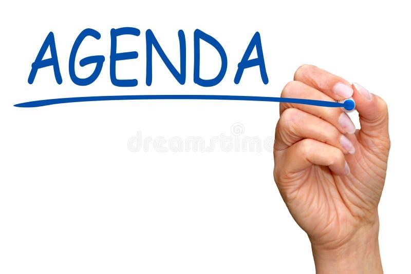 Agenda da palavra da escrita da mão foto de stock