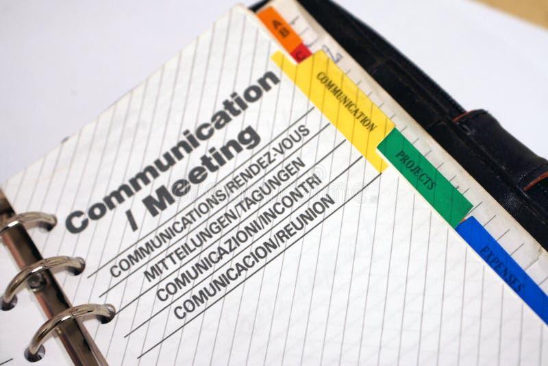 Agenda de la comunicación y de la reunión imagenes de archivo