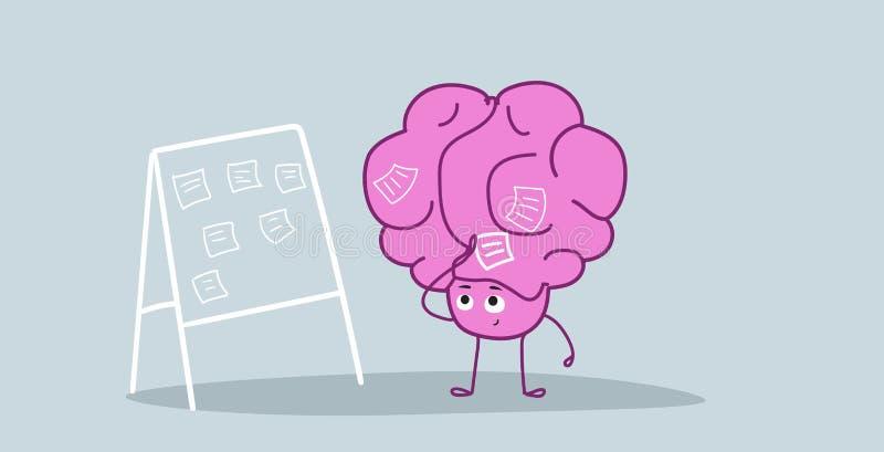 Agenda de programa do trabalho do cérebro humano na placa da tarefa com as notas pegajosas que planeiam o estilo do kawaii do per ilustração royalty free