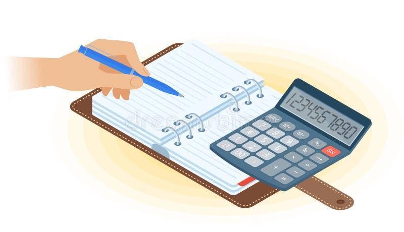 A agenda, mão com pena, calculadora da matemática Illus isométrico liso ilustração stock