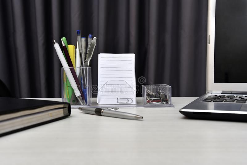 Agenda with not book and desk stuff on the table royalty free stock photo