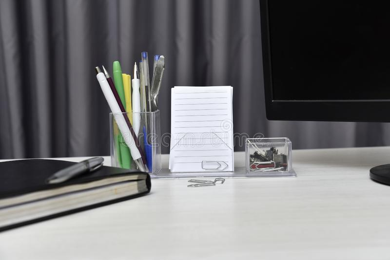Agenda with not book and desk stuff on the table royalty free stock photos