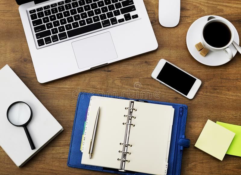 Agenda and office supplies stock images