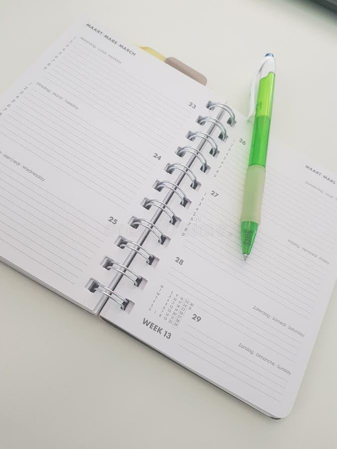 Agenda with pen royalty free stock photos