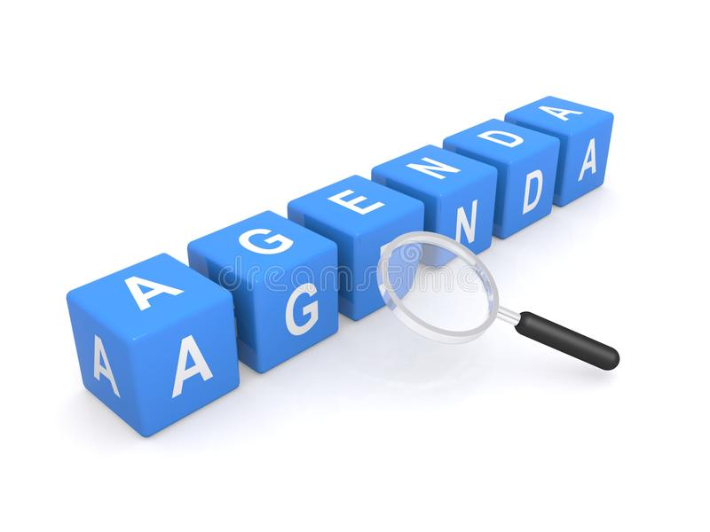 Agenda Sign With Magnifying Glass Stock Photos