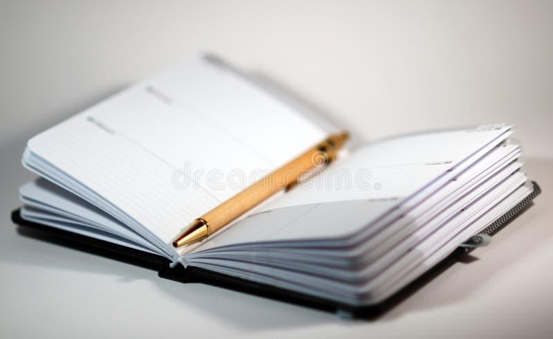 Agenda y pluma fotografía de archivo libre de regalías