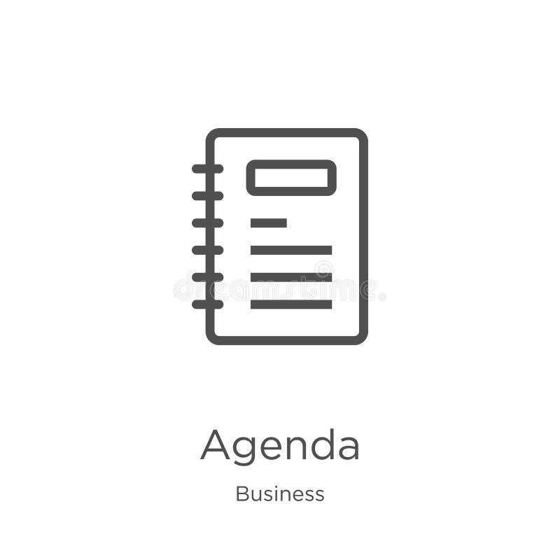 agendy ikony wektor od biznesowej kolekcji Cienka kreskowa agenda konturu ikony wektoru ilustracja Kontur, cienieje kreskową agen ilustracji