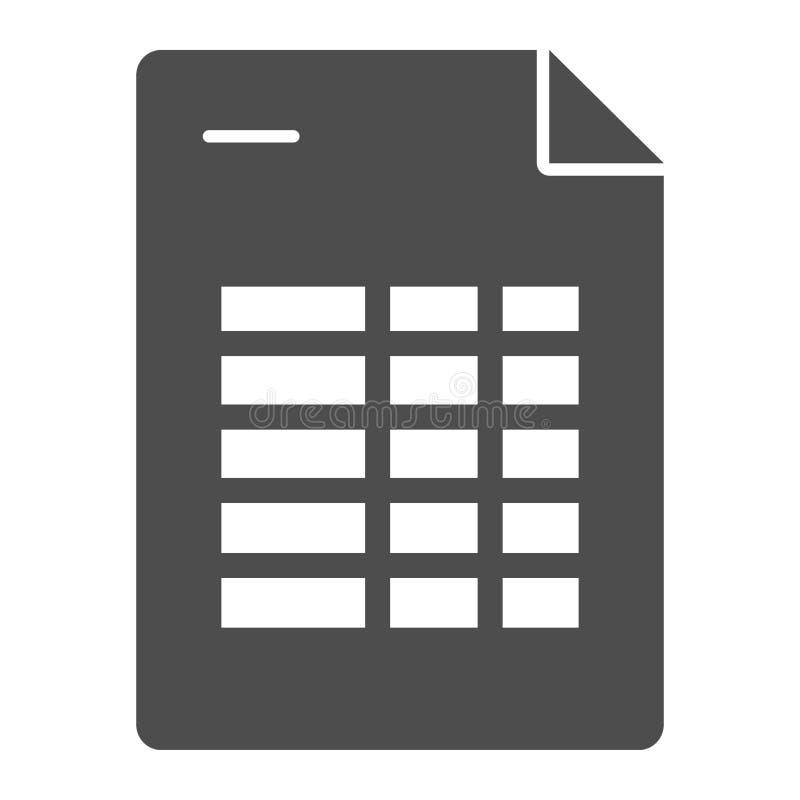 Agendy listy bryły ikona Rozkład zajęć nutowa wektorowa ilustracja odizolowywająca na bielu Kalendarzowego programa glifu stylu p ilustracji