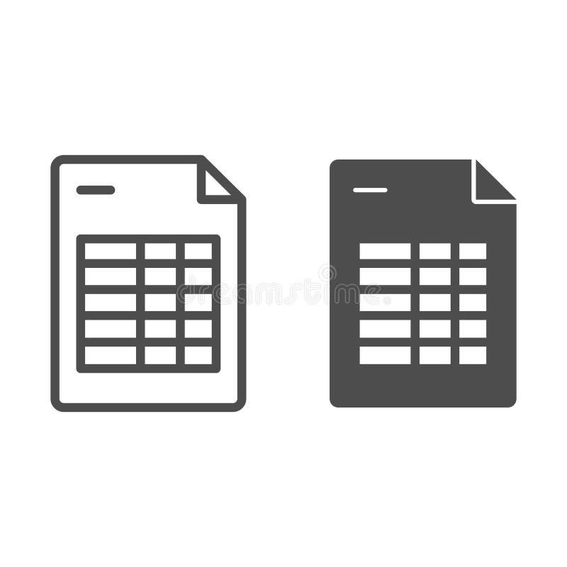 Agendy listy linia i glif ikona Rozkład zajęć nutowa wektorowa ilustracja odizolowywająca na bielu Kalendarzowego programa kontur royalty ilustracja