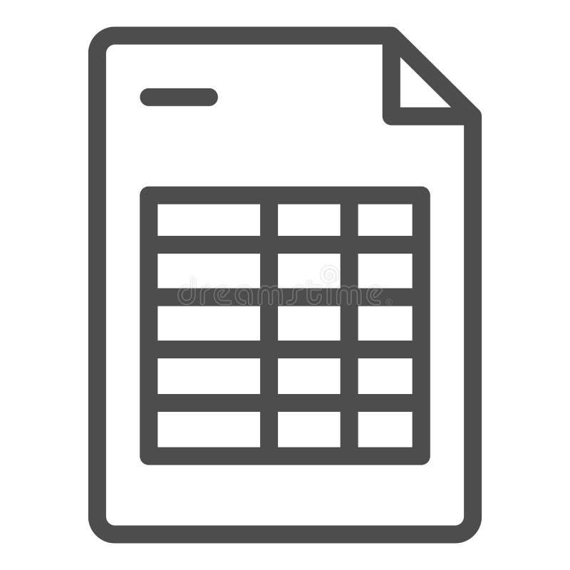Agendy listy linii ikona Rozkład zajęć nutowa wektorowa ilustracja odizolowywająca na bielu Kalendarzowego programa konturu stylu ilustracji
