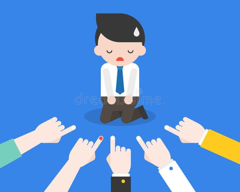 Agenouillement d'homme d'affaires sur le plancher avec indiquer le doigt lui, affaires illustration libre de droits