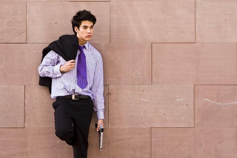 Agent armé prêt photographie stock libre de droits