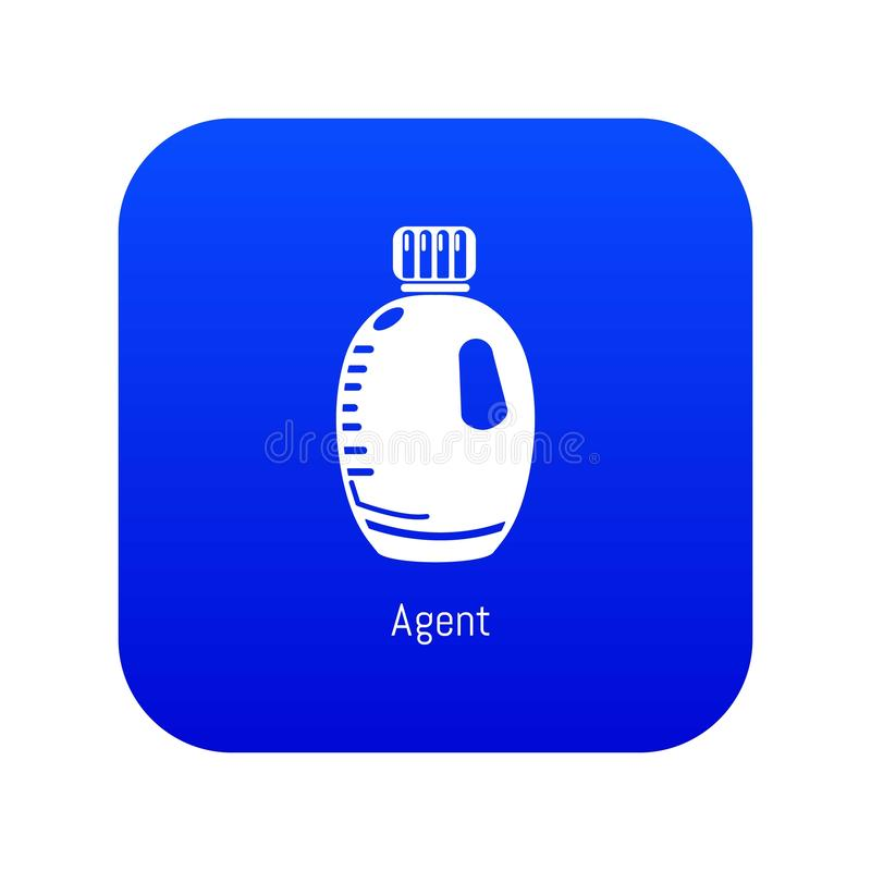 Agent bottle icon blue vector. Isolated on white background stock illustration