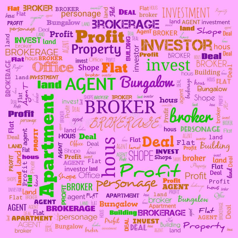 Agent, broker, text, word cloud use for banner, painting, motivation, web-page, website background, t-shirt & shirt printing,. Poster, gritting, wallpaper ( stock illustration