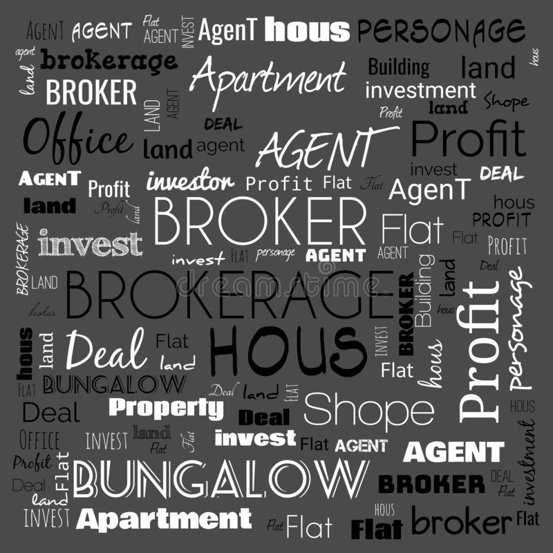 Agent, broker, text, word cloud use for banner, painting, motivation, web-page, website background, t-shirt & shirt printing,. Poster, gritting, wallpaper ( royalty free illustration