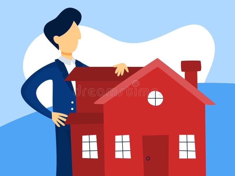 Agent Concept de Real Estate Offre de vente de Chambre illustration de vecteur