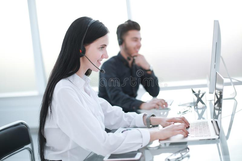 Agent, customer service, working at the call center royalty free stock images