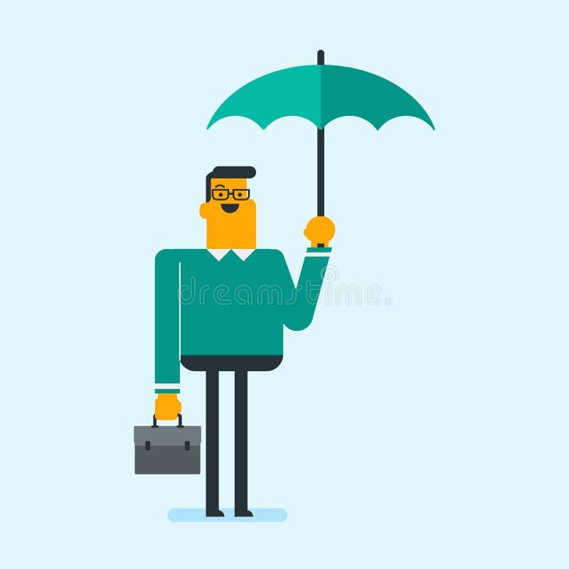 Agent d'assurance caucasien se tenant sous le parapluie illustration stock