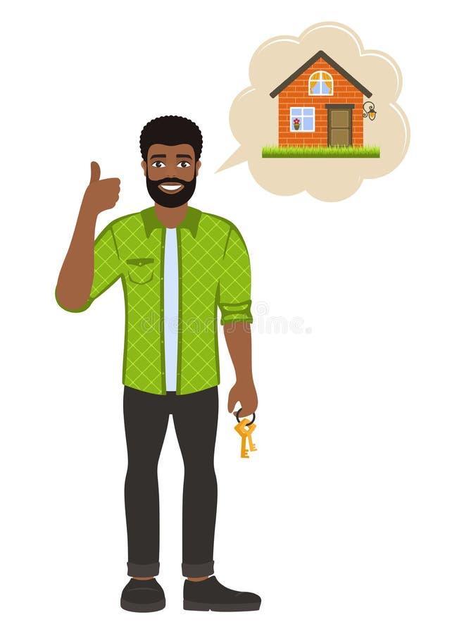 Agent d'agent immobilier avec des cl illustration stock
