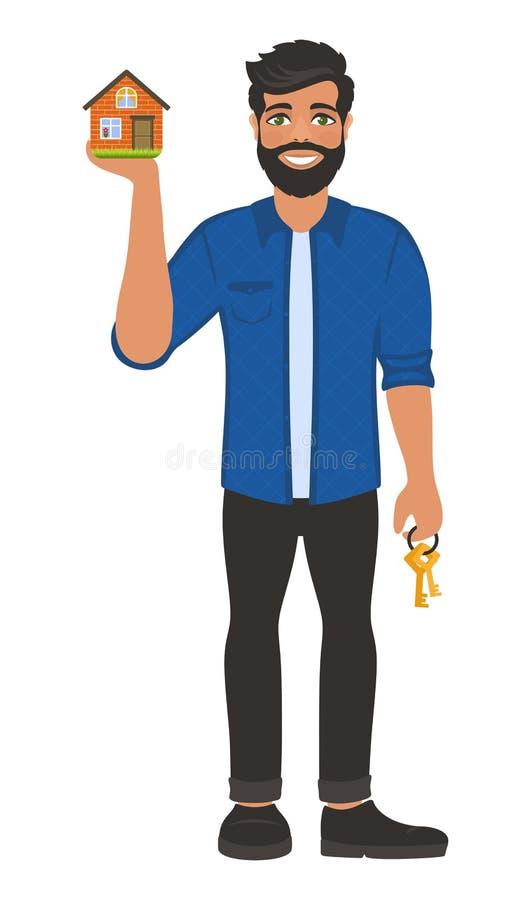 Agent d'agent immobilier avec des cl illustration libre de droits
