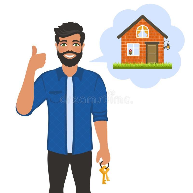 Agent d'agent immobilier avec des cl illustration de vecteur