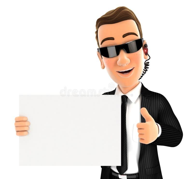 agent de sécurité 3d tenant la plaquette avec le pouce  illustration de vecteur
