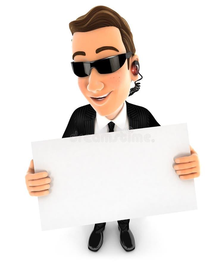 agent de sécurité 3d tenant un panneau d'affichage illustration stock