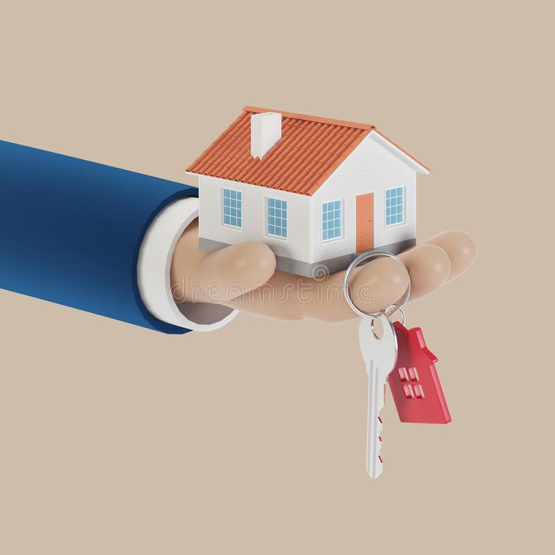 Free Agent Hands With A House In The Palm Of Your Hand And A Key On The Finger. Offer To Buy A House, Rent A Property. Royalty Free Stock Photography - 190517717