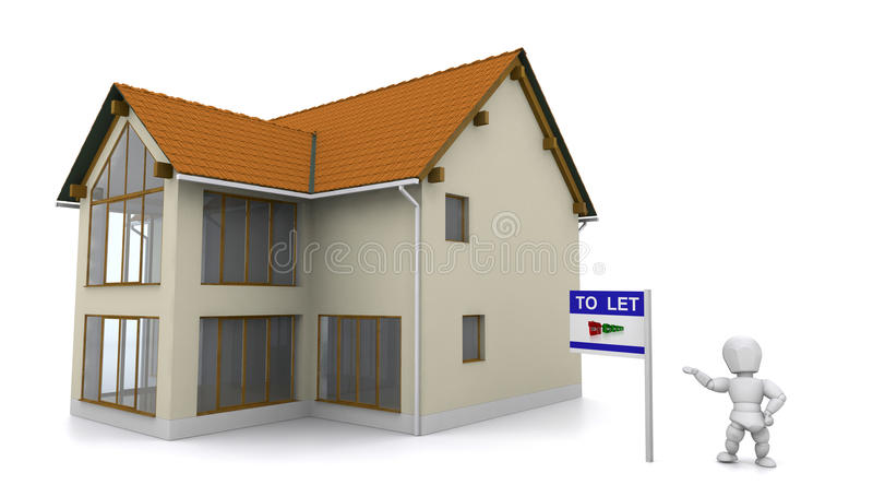 Agent immobilier affichant la propriété illustration libre de droits