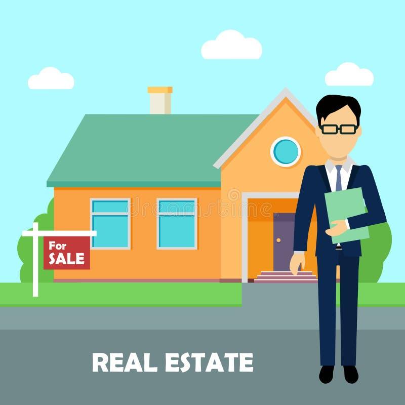 Agent immobilier au travail Bâtiment à vendre illustration de vecteur