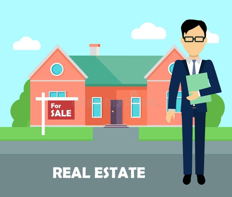 Agent immobilier au travail Bâtiment à vendre illustration libre de droits