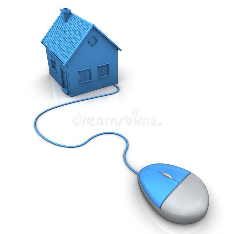 Agent immobilier en ligne illustration de vecteur