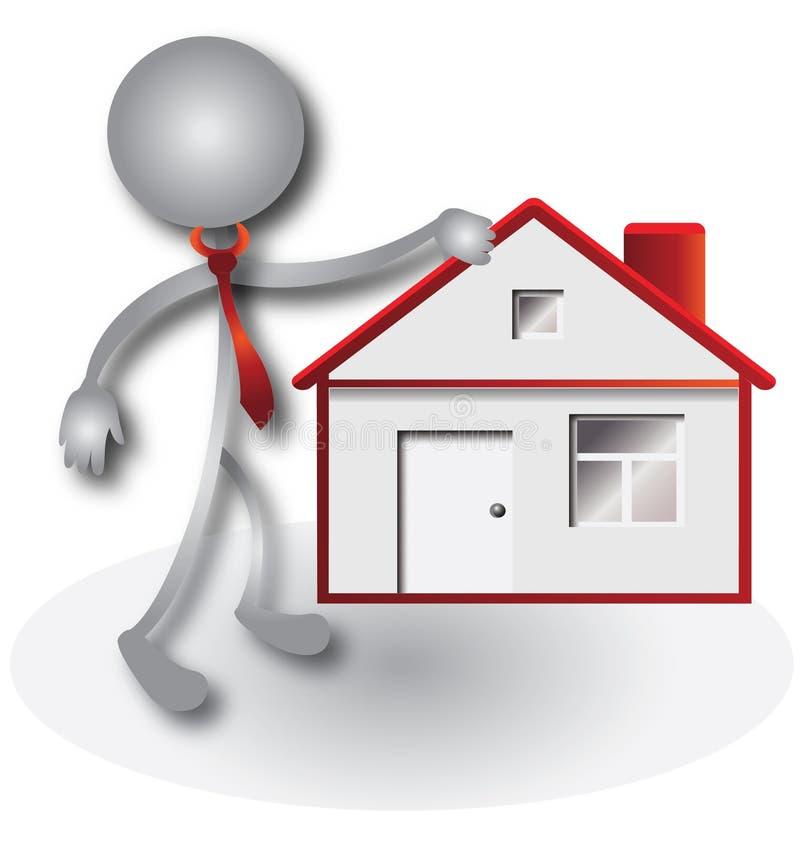 Agent immobilier et logo rouge de maison illustration de for Agents immobiliers