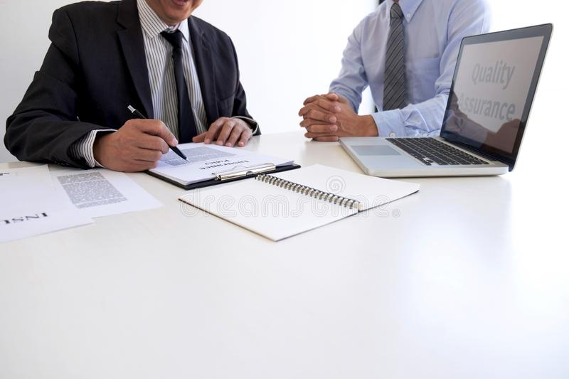 Agent man presentation and consulting life insurance detail to customer and waiting for his reply agreement to finish royalty free stock photo
