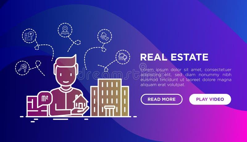 Agent nieruchomości z domem w ręce sprzedaje mieszkania Cienieje kreskowe ikony: obciosuje, szukający dom, klucze, pointer nowo?y ilustracji