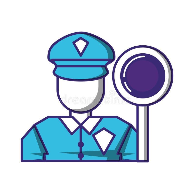 Agent ochrony z sygnalizacją drogową royalty ilustracja