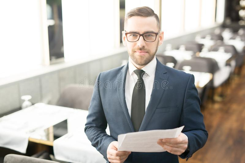 Agent with papers royalty free stock photos